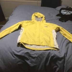 Yellow north face jacket women's